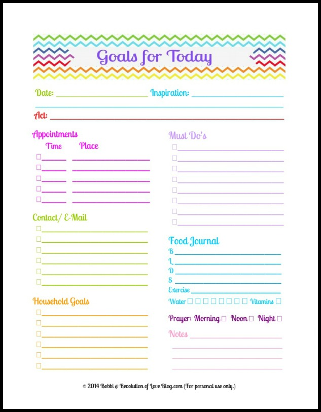 Pinterest Party & Link-up (vol. 28): Daily Planner Goal Sheet (Free ...